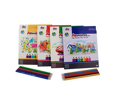 مداد 24 رنگ پلیمری جعبه مقوایی ادمیرال