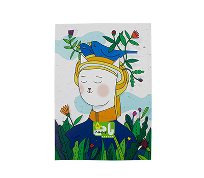 دفتر 50 برگ تك خط ته چسب جلد گلاسه طرح فانتزي پاپی